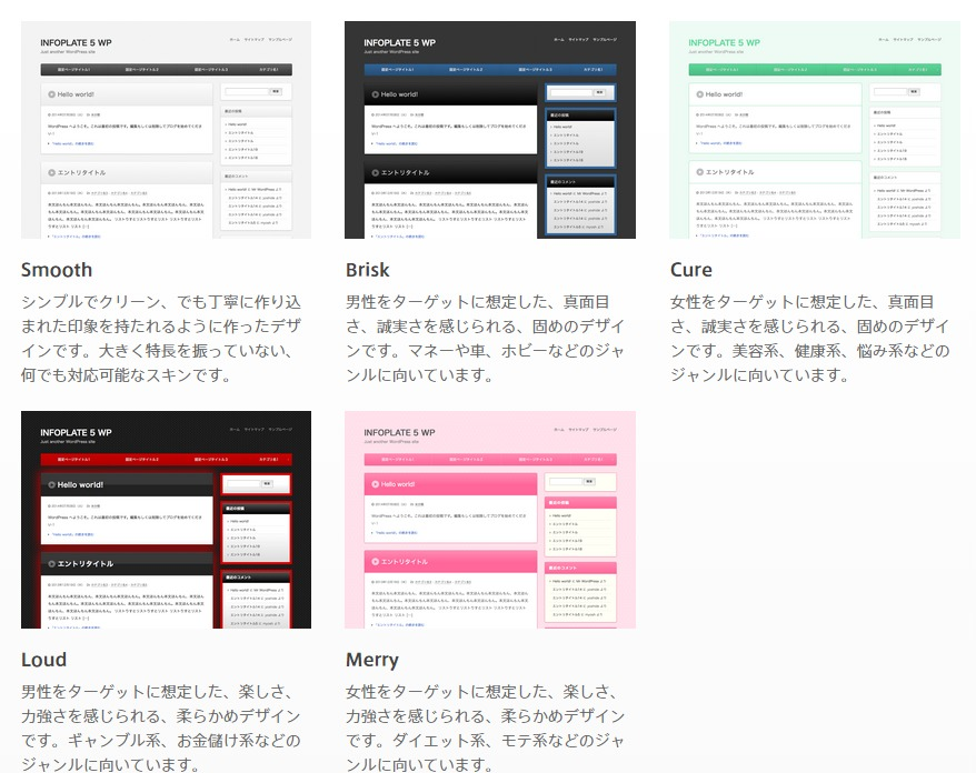 INFOPLATE 5 for WordPressのデザイン一覧